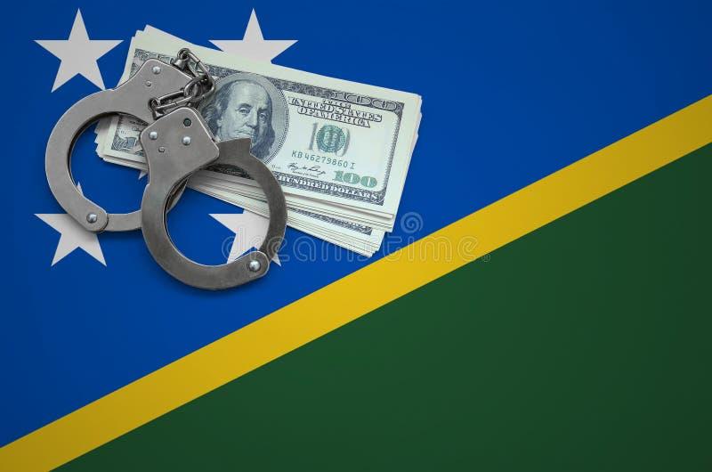 Σημαία των νήσων του Σολομώντος με τις χειροπέδες και μια δέσμη των δολαρίων Η έννοια της παράβασης του νόμου και των εγκλημάτων  στοκ εικόνες με δικαίωμα ελεύθερης χρήσης