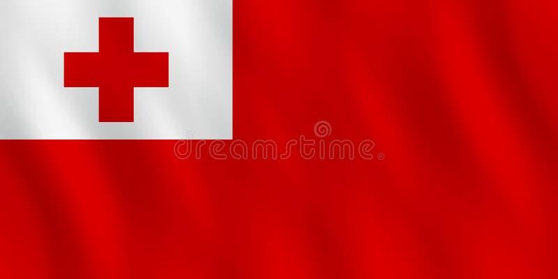 Σημαία των Τόνγκα με την επίδραση κυματισμού, επίσημη αναλογία ελεύθερη απεικόνιση δικαιώματος