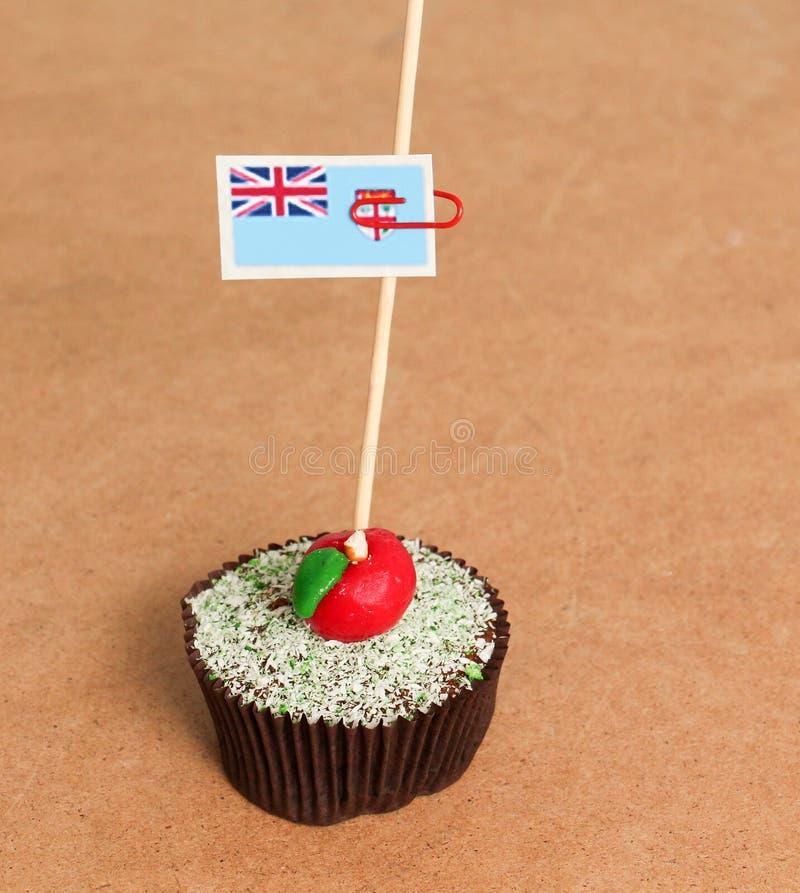 Σημαία των Φίτζι σε ένα μήλο cupcake στοκ εικόνες με δικαίωμα ελεύθερης χρήσης
