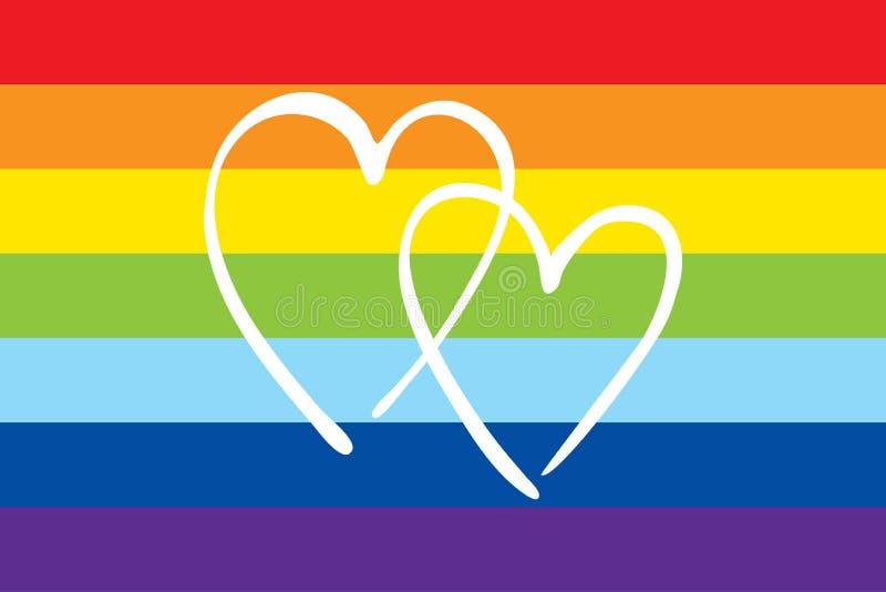 Σημαία υπερηφάνειας ουράνιων τόξων με δύο καρδιές r ελεύθερη απεικόνιση δικαιώματος