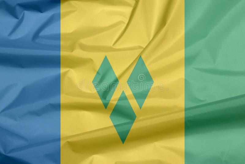 Σημαία υφάσματος Αγίου Vincent Πτυχή του υποβάθρου σημαιών Αγίου Vincent απεικόνιση αποθεμάτων
