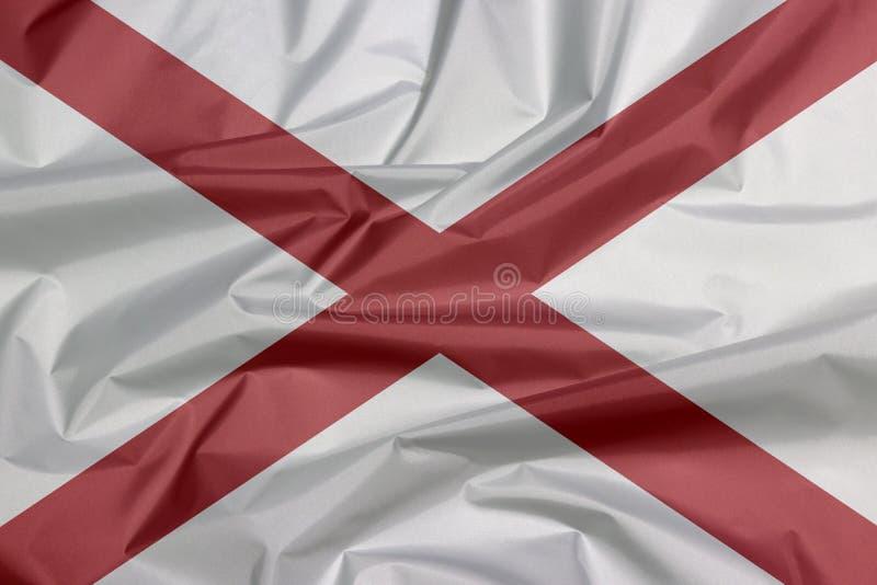 Σημαία υφάσματος της Αλαμπάμα Πτυχή του υποβάθρου σημαιών της Αλαμπάμα, οι καταστάσεις της Αμερικής ελεύθερη απεικόνιση δικαιώματος