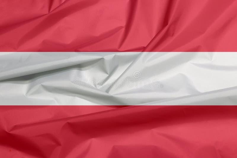 Σημαία υφάσματος της Αυστρίας Πτυχή του αυστριακού υποβάθρου σημαιών διανυσματική απεικόνιση