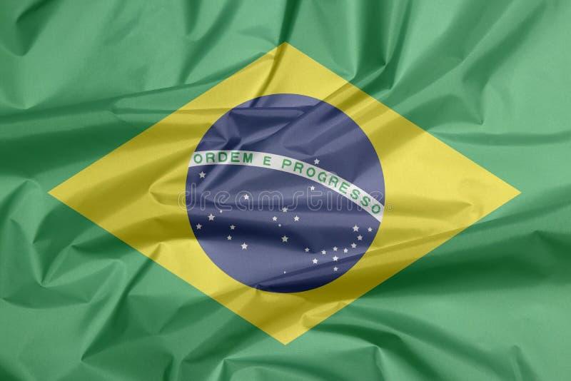 Σημαία υφάσματος της Βραζιλίας Πτυχή του βραζιλιάνου υποβάθρου σημαιών διανυσματική απεικόνιση