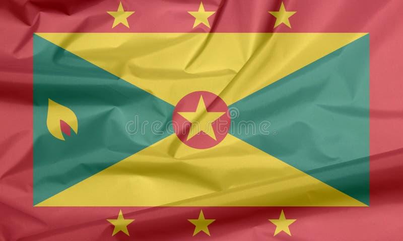 Σημαία υφάσματος της Γρενάδας Πτυχή του γρεναδικού υποβάθρου σημαιών διανυσματική απεικόνιση
