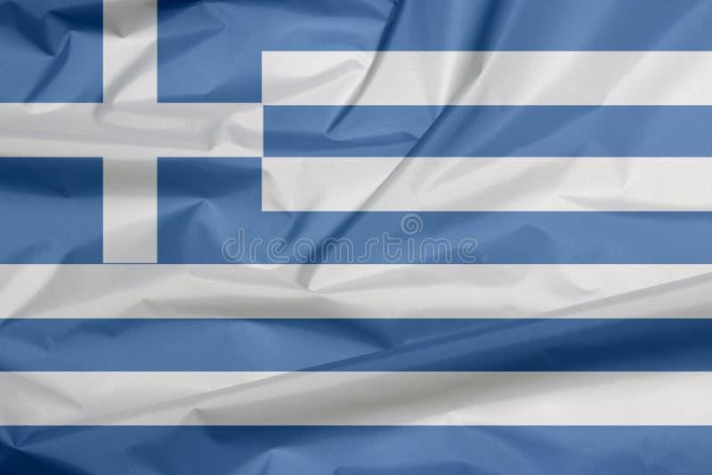 Σημαία υφάσματος της Ελλάδας Πτυχή του ελληνικού υποβάθρου σημαιών απεικόνιση αποθεμάτων