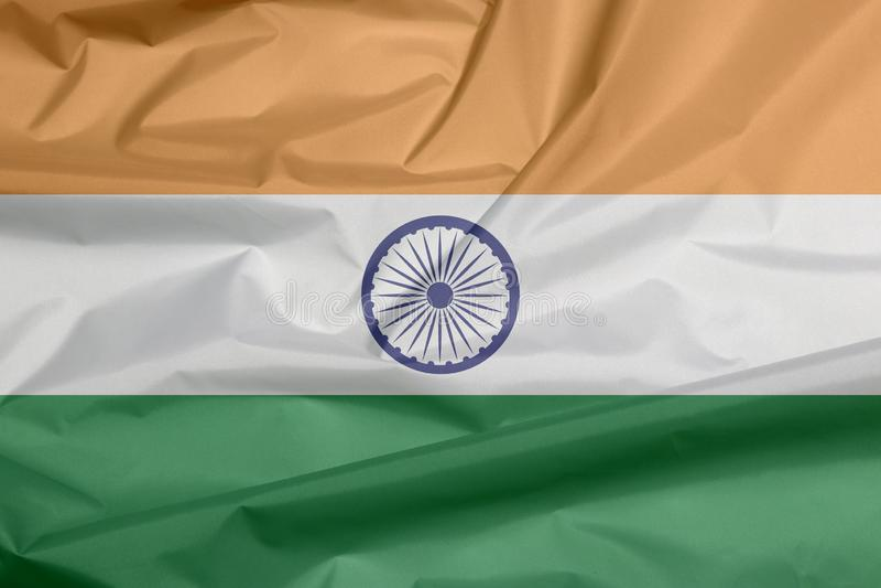 Σημαία υφάσματος της Ινδίας Πτυχή του ινδικού υποβάθρου σημαιών ελεύθερη απεικόνιση δικαιώματος