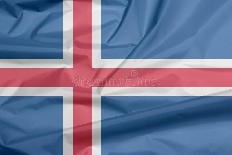 Σημαία υφάσματος της Ισλανδίας Πτυχή του υποβάθρου σημαιών της Ισλανδίας ελεύθερη απεικόνιση δικαιώματος