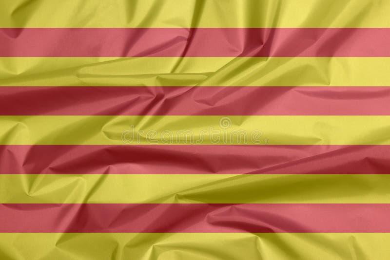 Σημαία υφάσματος της Καταλωνίας Πτυχή του υποβάθρου σημαιών Catalunya διανυσματική απεικόνιση
