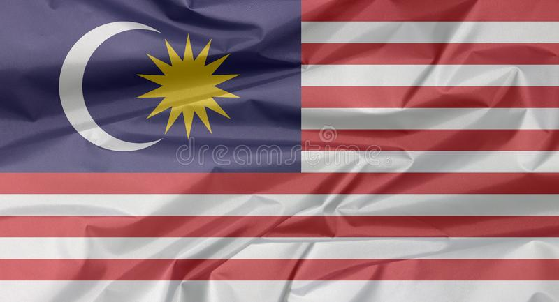Σημαία υφάσματος της Μαλαισίας Πτυχή του μαλαισιανού υποβάθρου σημαιών ελεύθερη απεικόνιση δικαιώματος