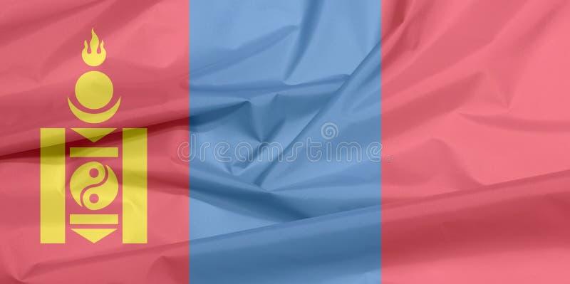Σημαία υφάσματος της Μογγολίας Πτυχή του μογγολικού υποβάθρου σημαιών ελεύθερη απεικόνιση δικαιώματος
