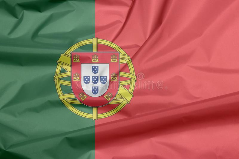 Σημαία υφάσματος της Πορτογαλίας Πτυχή του πορτογαλικού υποβάθρου σημαιών απεικόνιση αποθεμάτων