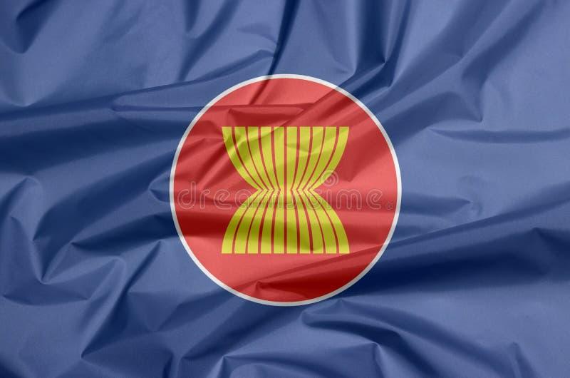 Σημαία υφάσματος της ASEAN Πτυχή του υποβάθρου σημαιών της ASEAN διανυσματική απεικόνιση