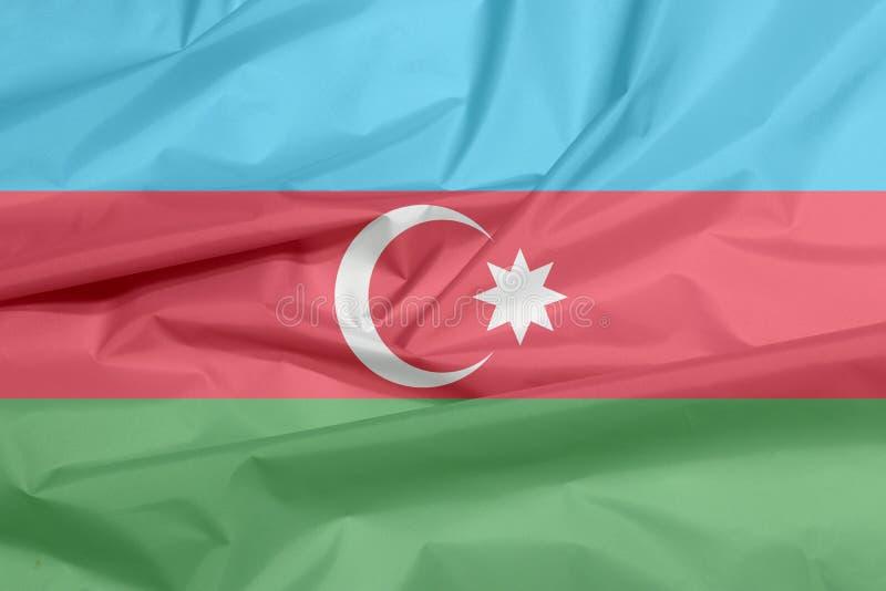 Σημαία υφάσματος του Αζερμπαϊτζάν Πτυχή του του Αζερμπαϊτζάν υποβάθρου σημαιών διανυσματική απεικόνιση