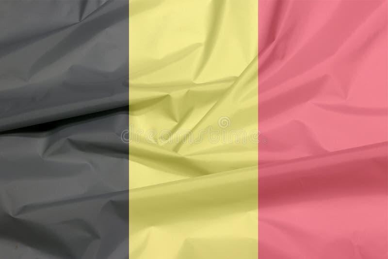 Σημαία υφάσματος του Βελγίου Πτυχή του βελγικού υποβάθρου σημαιών ελεύθερη απεικόνιση δικαιώματος