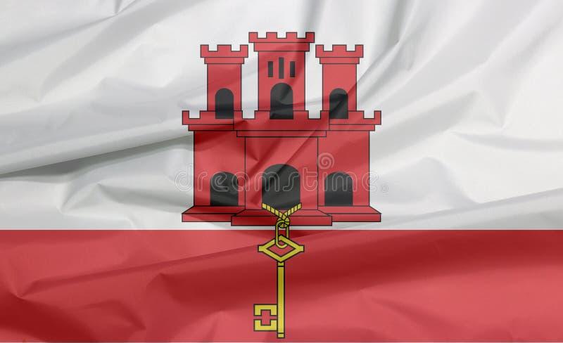 Σημαία υφάσματος του Γιβραλτάρ Πτυχή του υποβάθρου σημαιών του Γιβραλτάρ απεικόνιση αποθεμάτων