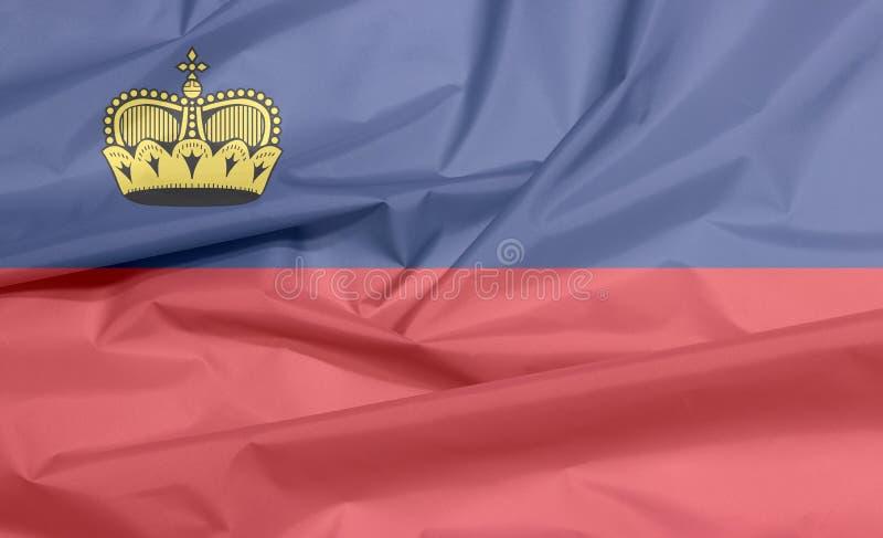 Σημαία υφάσματος του Λιχτενστάιν Πτυχή του υποβάθρου σημαιών Liechtensteiner διανυσματική απεικόνιση