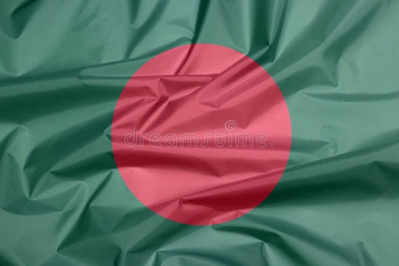 Σημαία υφάσματος του Μπανγκλαντές Πτυχή του βεγγαλικού υποβάθρου σημαιών απεικόνιση αποθεμάτων