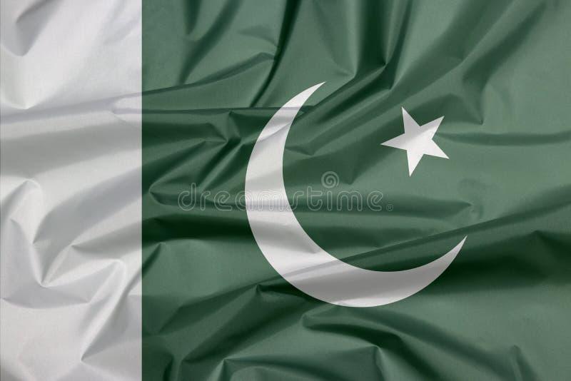 Σημαία υφάσματος του Πακιστάν Πτυχή του πακιστανικού υποβάθρου σημαιών διανυσματική απεικόνιση