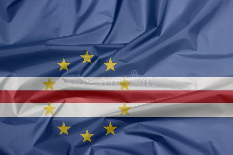 Σημαία υφάσματος του Πράσινου Ακρωτηρίου Πτυχή του υποβάθρου σημαιών Πράσινου Ακρωτηρίου, απεικόνιση αποθεμάτων