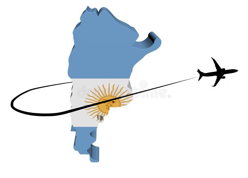 Σημαία χαρτών της Αργεντινής με το αεροπλάνο και swoosh την απεικόνιση απεικόνιση αποθεμάτων