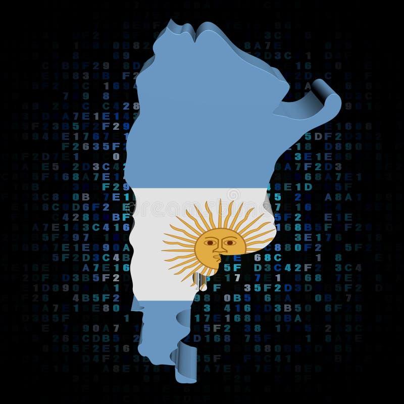 Σημαία χαρτών της Αργεντινής στην απεικόνιση κώδικα δεκαεξαδικού απεικόνιση αποθεμάτων