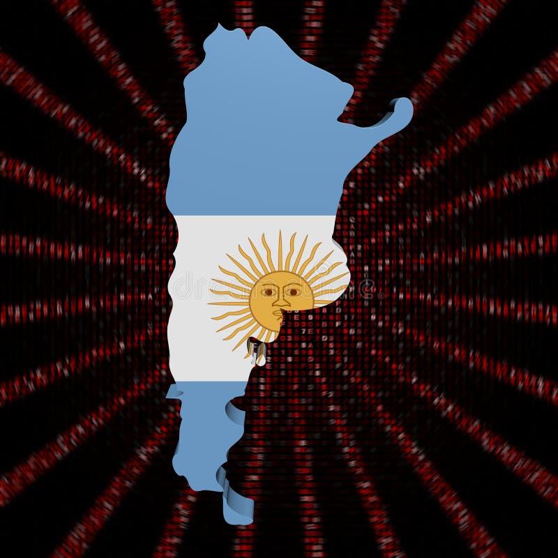 Σημαία χαρτών της Αργεντινής στην κόκκινη απεικόνιση έκρηξης κώδικα δεκαεξαδικού διανυσματική απεικόνιση