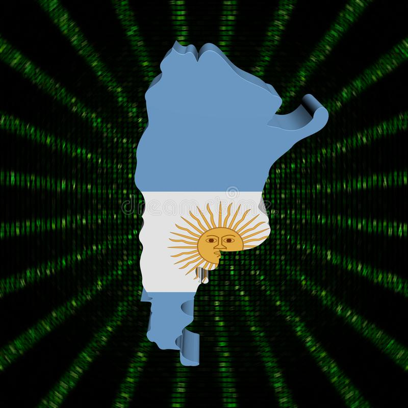 Σημαία χαρτών της Αργεντινής στην πράσινη απεικόνιση έκρηξης κώδικα δεκαεξαδικού ελεύθερη απεικόνιση δικαιώματος