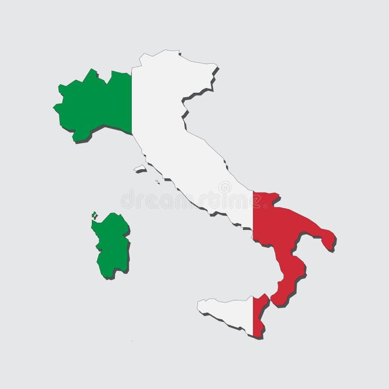 Σημαία χαρτών της Ιταλίας, χάρτης της Ιταλίας με το διάνυσμα σημαιών ελεύθερη απεικόνιση δικαιώματος