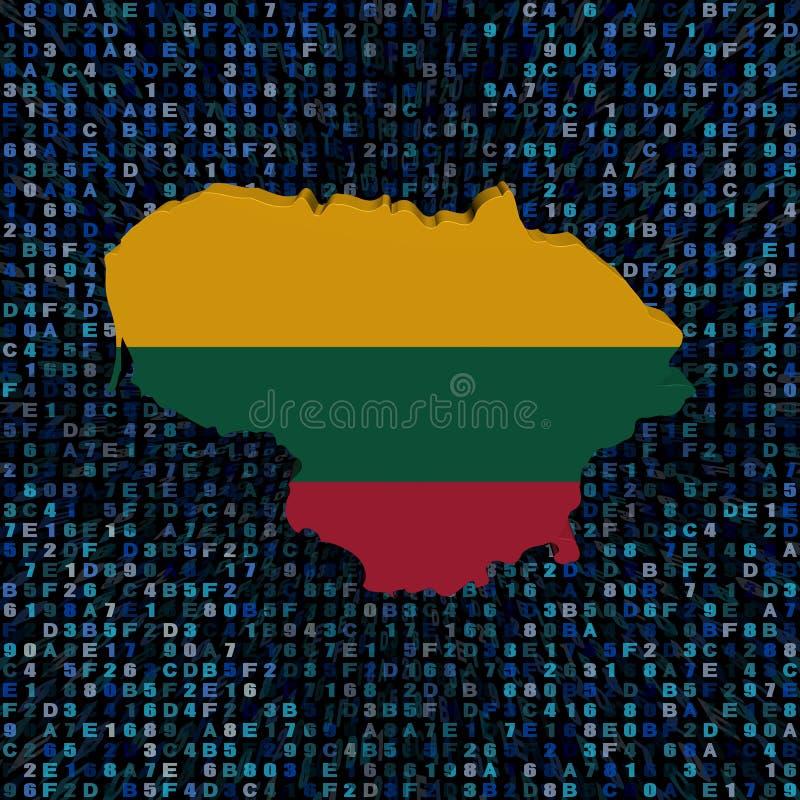 Σημαία χαρτών της Λιθουανίας στην απεικόνιση κώδικα δεκαεξαδικού ελεύθερη απεικόνιση δικαιώματος
