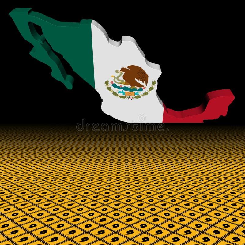 Σημαία χαρτών του Μεξικού με την απεικόνιση πρώτου πλάνου προειδοποιητικών σημαδιών τυφώνα απεικόνιση αποθεμάτων