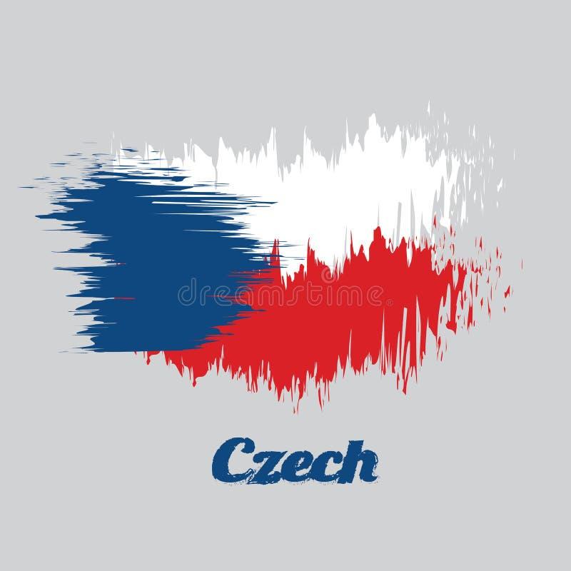 Σημαία χρώματος ύφους βουρτσών της Δημοκρατίας της Τσεχίας, δύο ίσος οριζόντιος άσπρος και κόκκινος με ένα μπλε τρίγωνο από την π απεικόνιση αποθεμάτων