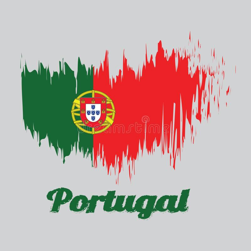 Σημαία χρώματος ύφους βουρτσών της Πορτογαλίας, με το κείμενο Πορτογαλία απεικόνιση αποθεμάτων