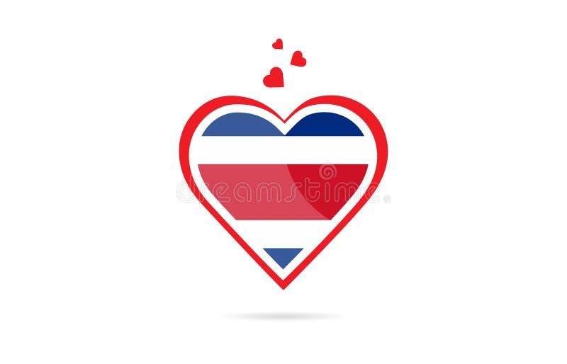 Σημαία χωρών της Κόστα Ρίκα μέσα στο δημιουργικό σχέδιο λογότυπων καρδιών αγάπης απεικόνιση αποθεμάτων