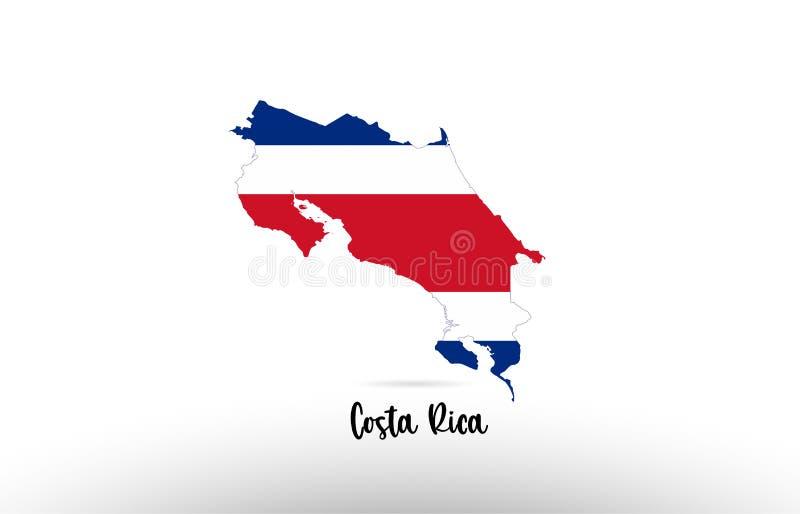 Σημαία χωρών της Κόστα Ρίκα μέσα στο λογότυπο εικονιδίων σχεδίου περιγράμματος χαρτών διανυσματική απεικόνιση