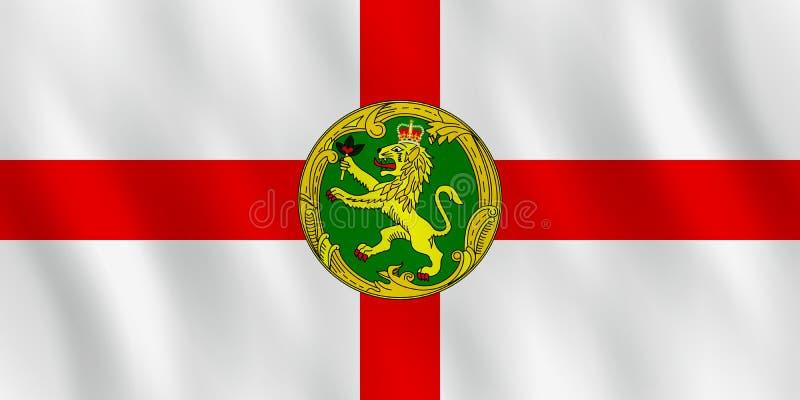 Σημαία Alderney με την επίδραση κυματισμού, επίσημη αναλογία ελεύθερη απεικόνιση δικαιώματος