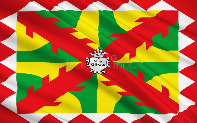 Σημαία Huesca - μια πόλη στην Ισπανία στοκ εικόνες με δικαίωμα ελεύθερης χρήσης
