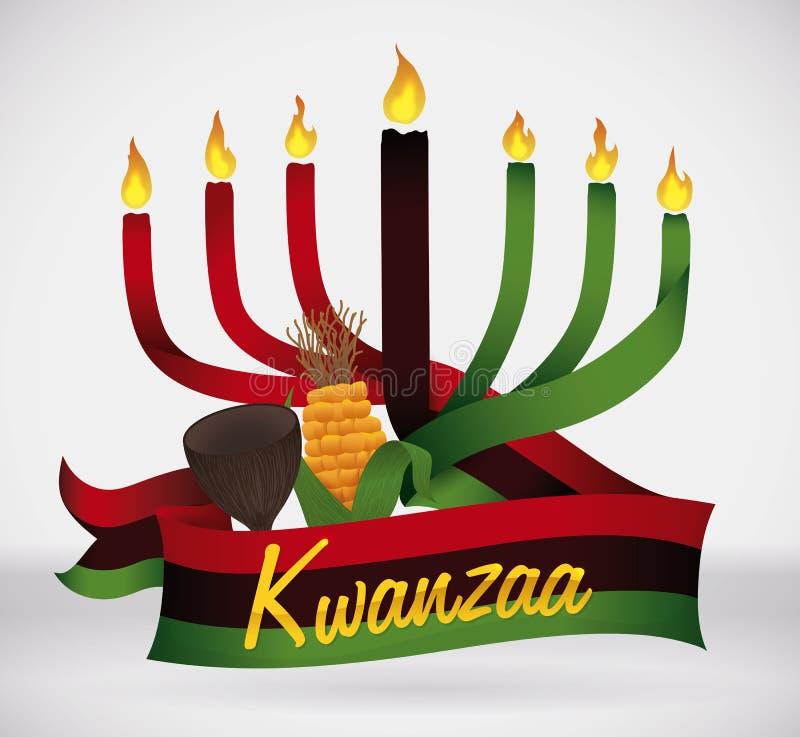 Σημαία Kwanzaa με τα παραδοσιακά στοιχεία, διανυσματική απεικόνιση διανυσματική απεικόνιση