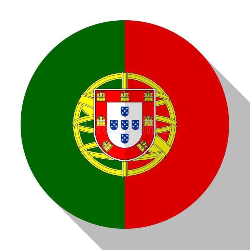 Σημαία PortugFlag Πορτογαλία - στρογγυλό κουμπί flatstyle με shad απεικόνιση αποθεμάτων