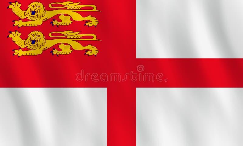 Σημαία Sark με την επίδραση κυματισμού, επίσημη αναλογία ελεύθερη απεικόνιση δικαιώματος