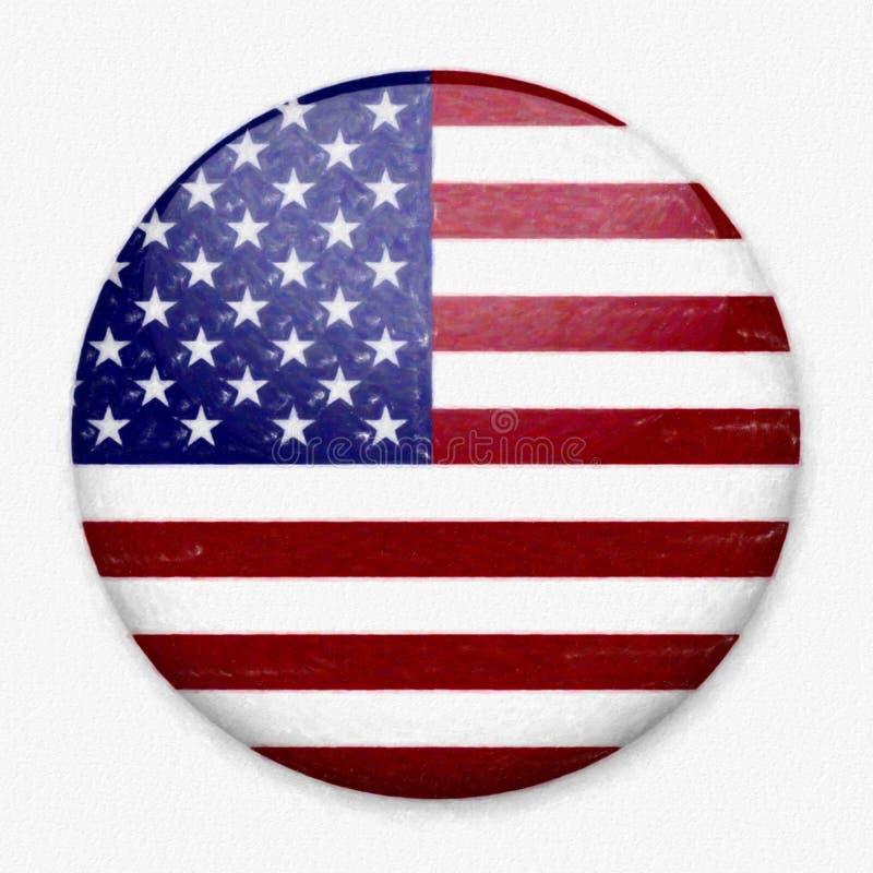 Σημαία Watercolor της Αμερικής υπό μορφή στρογγυλού κουμπιού στοκ εικόνα