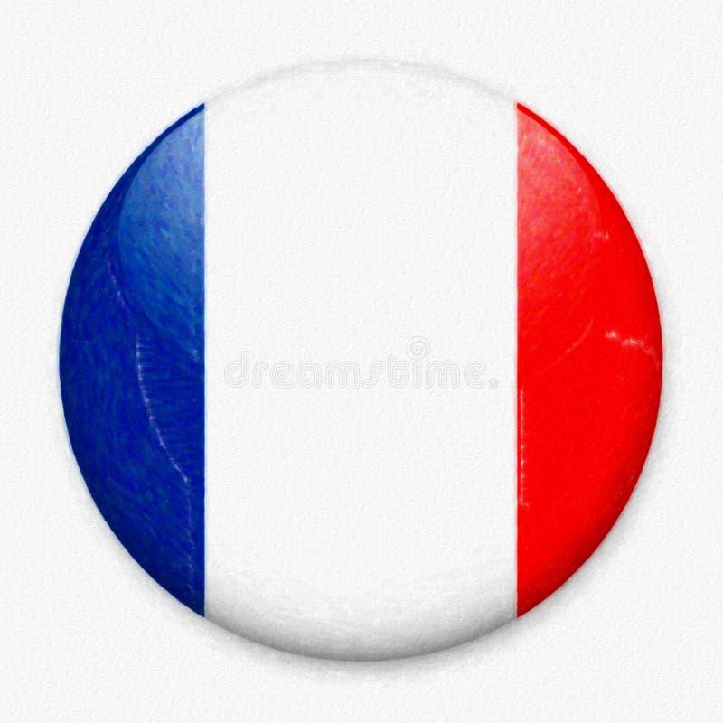 Σημαία Watercolor της Γαλλίας υπό μορφή στρογγυλού κουμπιού στοκ εικόνες