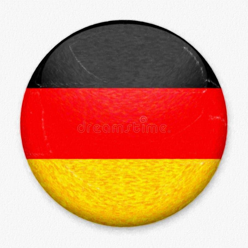Σημαία Watercolor της Γερμανίας υπό μορφή στρογγυλού κουμπιού στοκ φωτογραφία