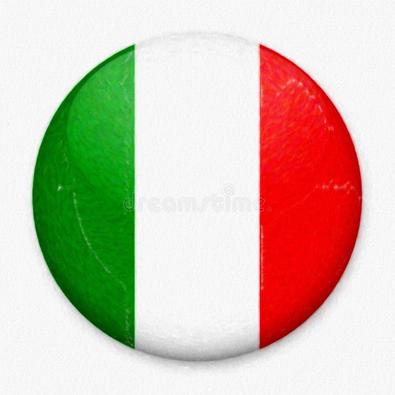 Σημαία Watercolor της Ιταλίας υπό μορφή στρογγυλού κουμπιού στοκ φωτογραφία με δικαίωμα ελεύθερης χρήσης