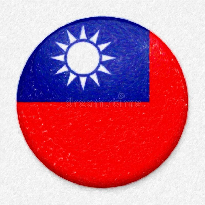 Σημαία Watercolor της Ταϊβάν υπό μορφή στρογγυλού κουμπιού στοκ εικόνες με δικαίωμα ελεύθερης χρήσης