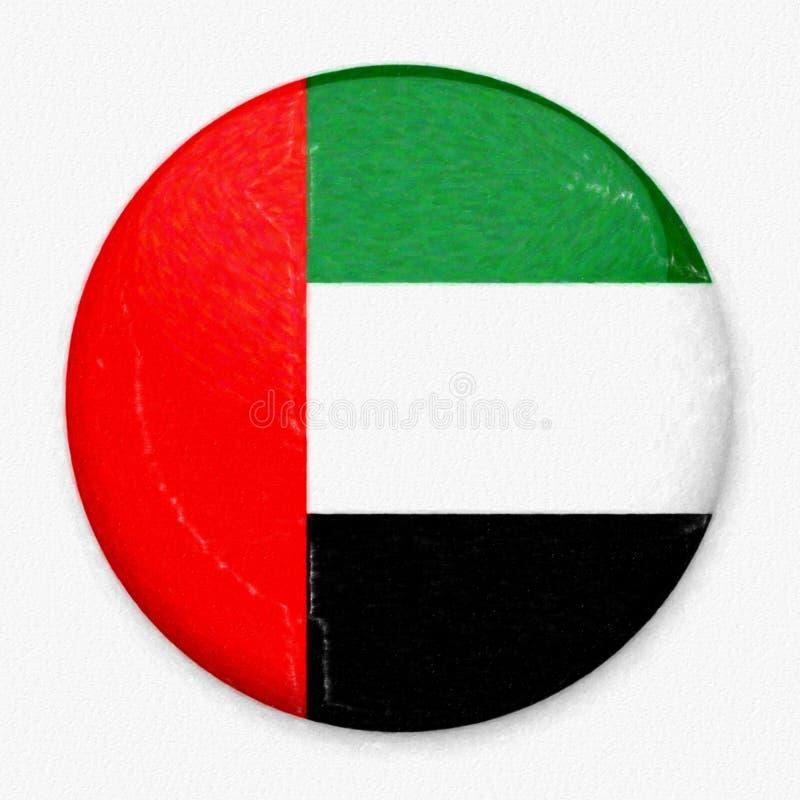 Σημαία Watercolor των Ε.Α.Ε. υπό μορφή στρογγυλού κουμπιού στοκ φωτογραφία