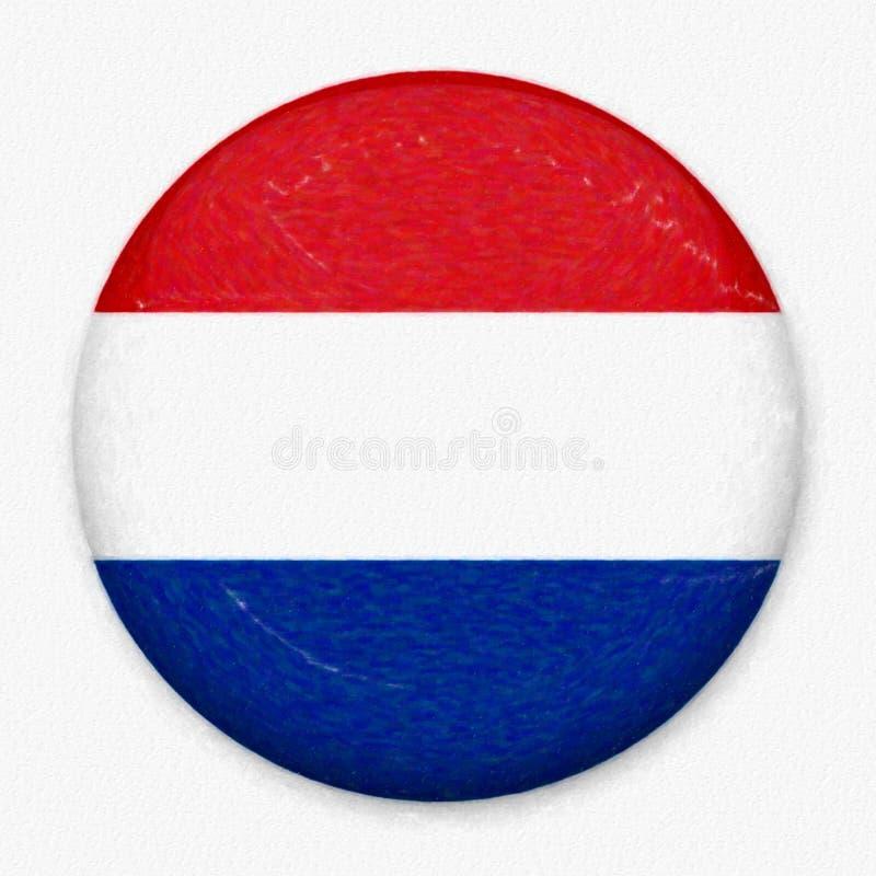 Σημαία Watercolor των Κάτω Χωρών υπό μορφή στρογγυλού κουμπιού στοκ φωτογραφία με δικαίωμα ελεύθερης χρήσης