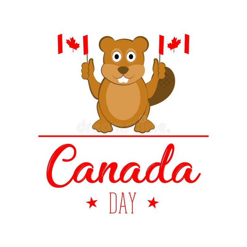 Σημαίες εκμετάλλευσης καστόρων εικονίδια ημέρας του Καναδά κουμπιών που τίθενται διανυσματική απεικόνιση
