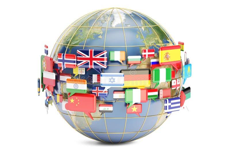 Σημαίες λεκτικών φυσαλίδων με τον κόσμο, τρισδιάστατη απόδοση απεικόνιση αποθεμάτων