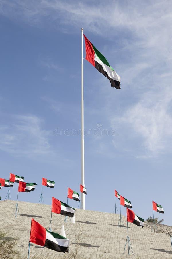 Σημαίες Ε.Α.Ε. σε Mezairaa στοκ εικόνα